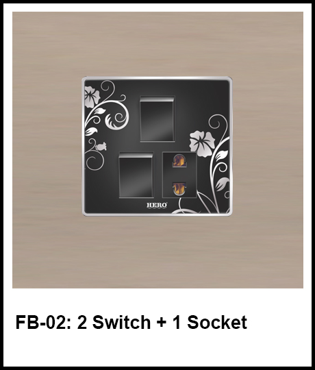 Floral Black Switches 2 switch and 1 socket