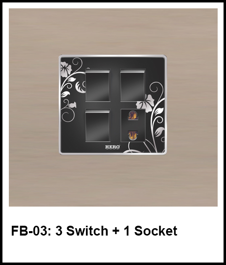 Floral Black Switches 3 switch and 1 socket