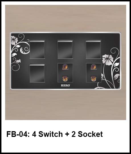 Floral Black Switches 4 switch and 2 socket