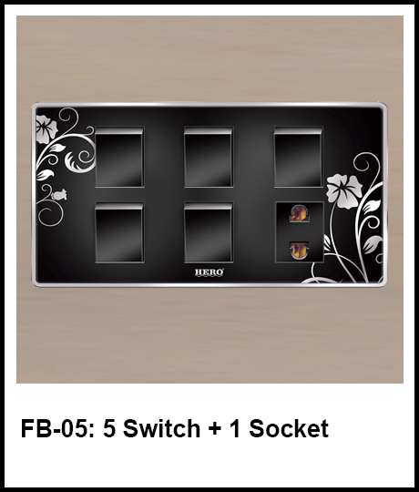 Floral Black Switches 5 switch and 1 socket