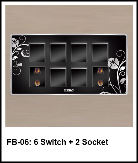 Floral Black Switches 6 switch and 2 socket