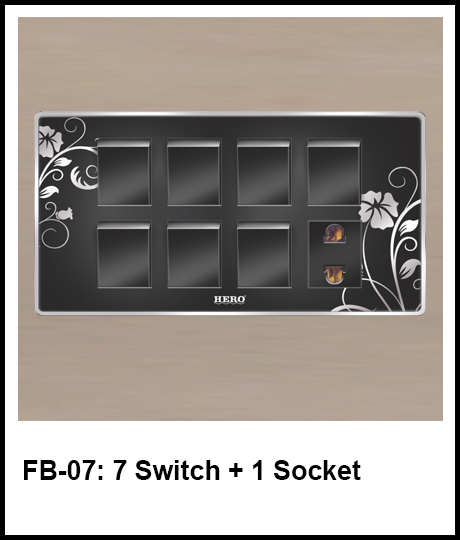 Floral Black Switches 7 switch and 1 socket