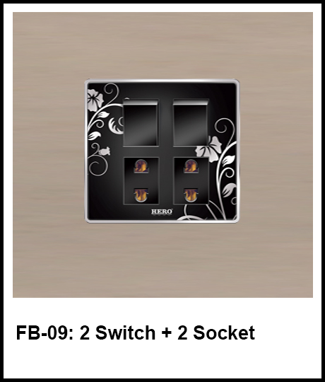 Floral Black Switches 2 switch and 2 socket