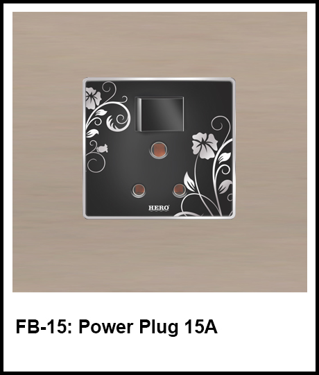 Floral Black Switches power plug 15A
