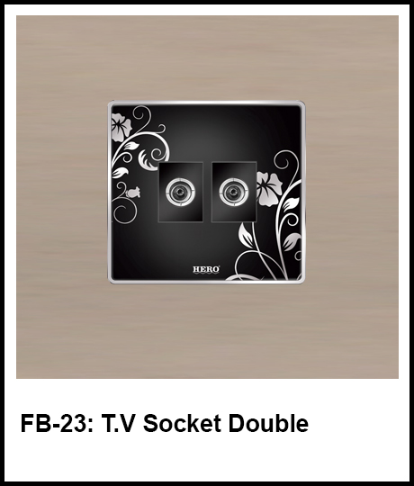 Floral Black Switches tv socket double
