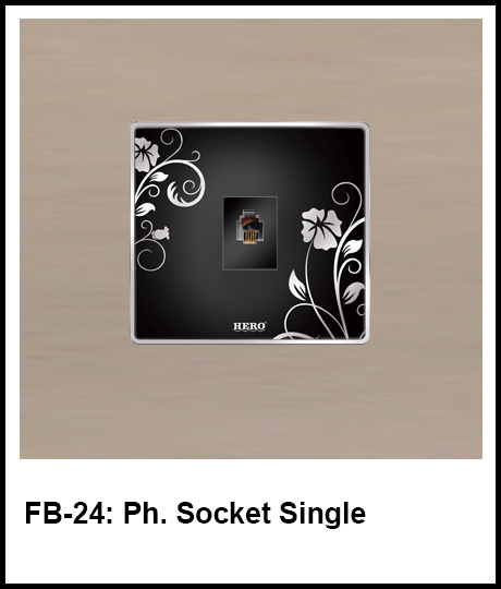 Floral Black Switches phone socket