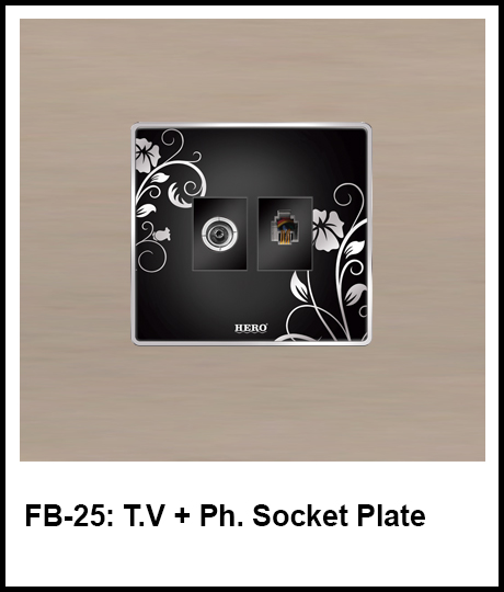 Floral Black Switches TV and phone socket